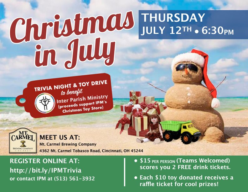 Christmas in July Trivia Contest on July 12 Inter Parish Ministry